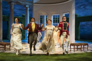 Christine Weber (Jane Bennet), Juan Rivera Lebron, Aeysha Kinnunen (Lydia Bennet) and Emanuel Ardeleanu in the Guthrie Theater's production of Pride and Prejudice, by Jane Austen