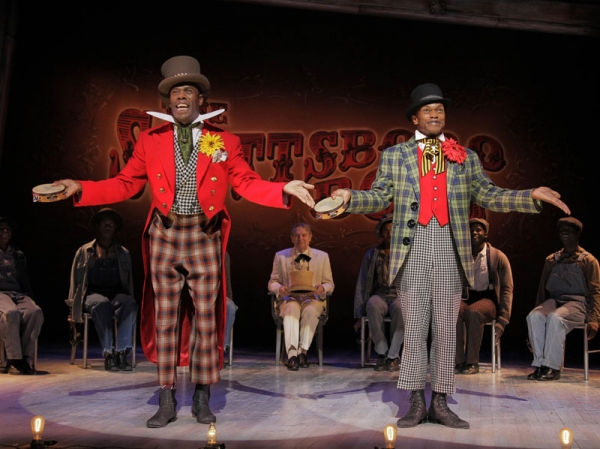 Coleman Domingo (l) and Forrest McClendon with John Cullum (c) in The Scottsboro Boys