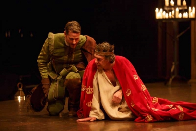 Graham Abbey (left) as Philip, the Bastard and Tom McCamus as King John in King John